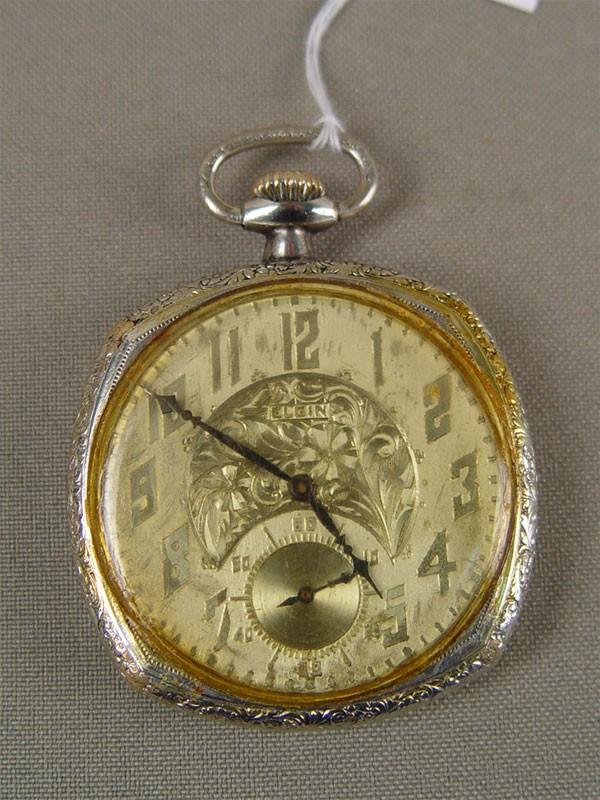Часы карманные «Elgin», золото 583пробы. общий вес— 61,5г, диаметр— 5см