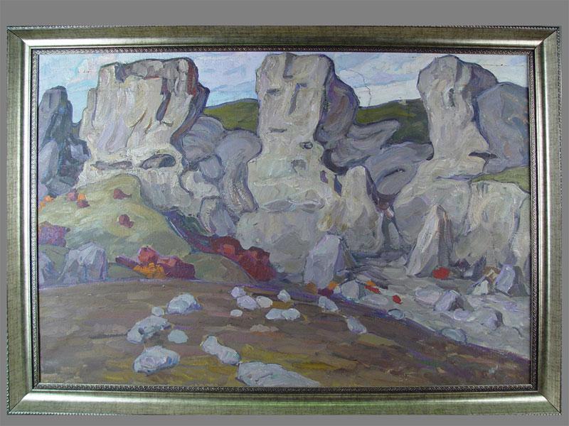 М.Грачев, «Крым. Скалы», холст, масло, 1950—60-е гг, 64×90см