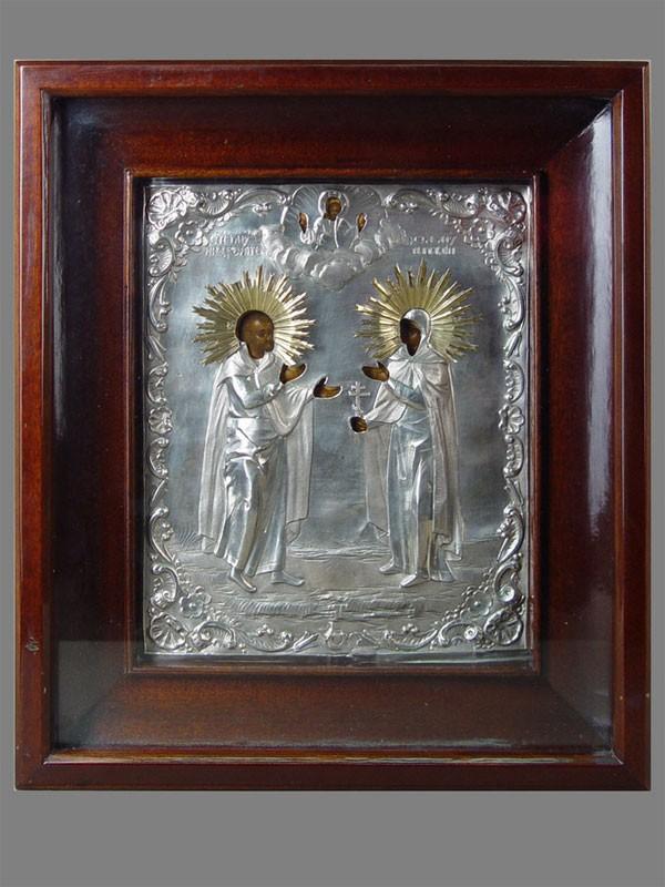 Икона вкиоте «Святой Адриан иСвятая Наталья», дерево, левкас, темпера, оклад— серебро 84пробы, XIXвек, размер иконы: 26×21см