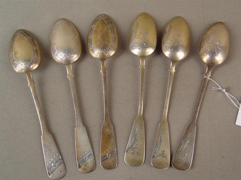 Ложки чайные (6шт.), серебро 875пробы, гравировка, позолота, общий вес— 105,1г