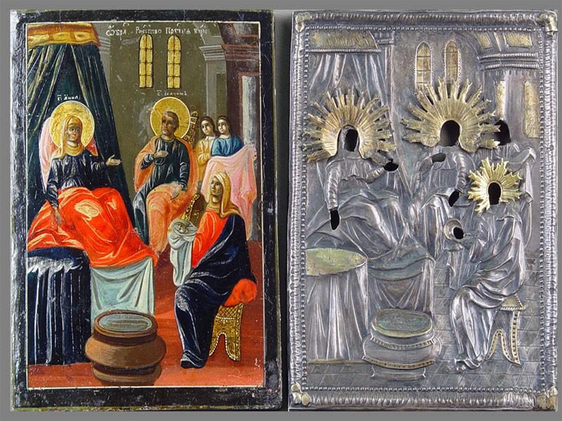 Икона «Рождество Пресвятой Богородицы», дерево, левкас, темпера; оклад — серебро 84пробы, венцы латунь. XVIII-XIXвека, размер иконы: 22×16см