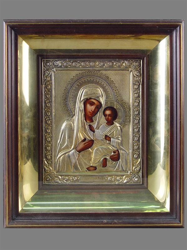 Икона вкиоте «Богородица Тихвинская», дерево, левкас, темпера; оклад: серебро 84пробы, позолота; размер иконы: 22×18см
