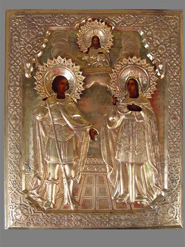 Икона «Святой Георгий Победоносец иСв.Александра», дерево, масло, оклад латунь, 27×22см