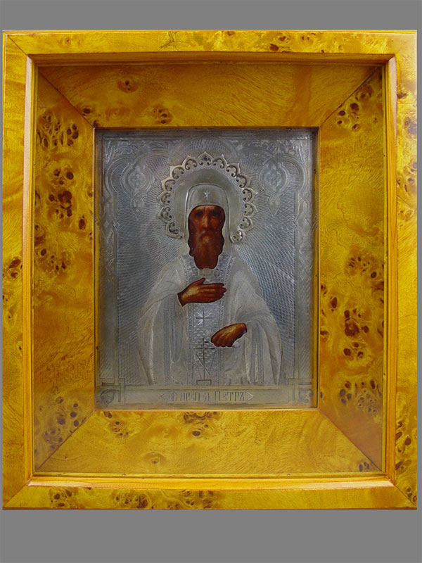 Икона вкиоте «Святой преподобный Петр», оклад: серебро 84пробы, позолота, гравировка; размер иконы: 18×13см