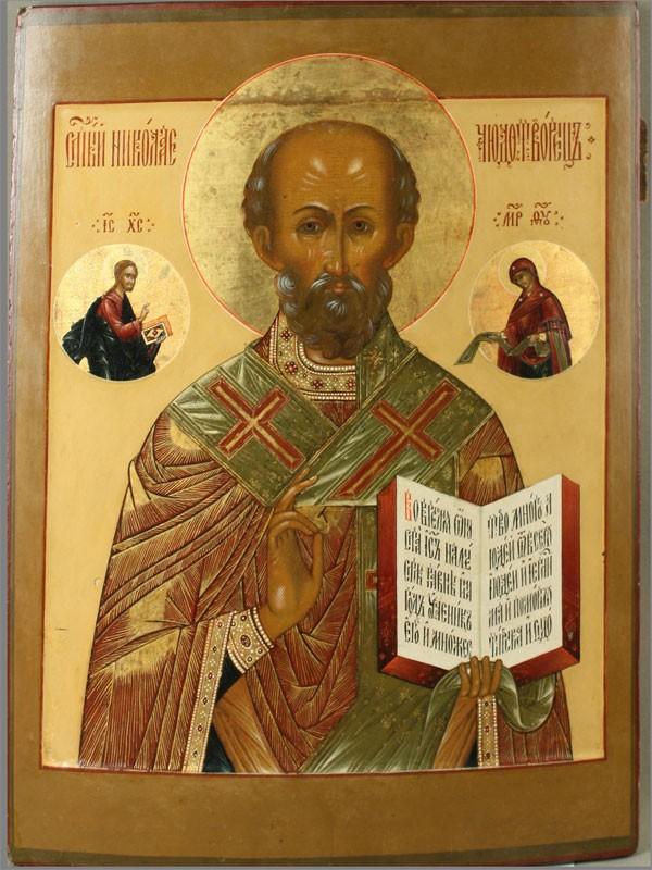 Икона «Святой Николай Чудотворец», дерево, левкас, темпера, Палех, размер: 54×40см