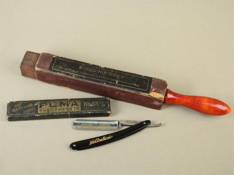 Набор: опасная бритва изаточка вфутляре, конец XIX— начало XXвека