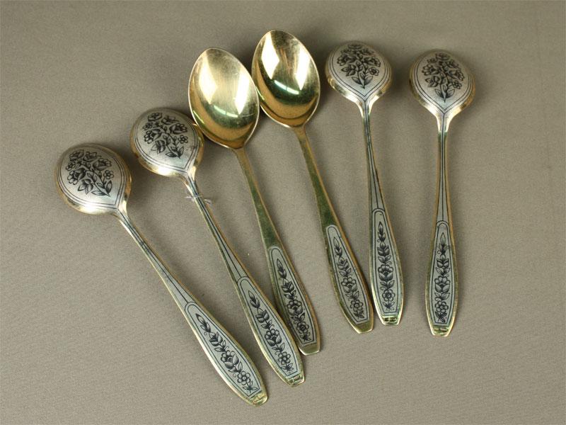 Ложки столовые (6шт.), серебро 875пробы, чернь, позолота, общий вес— 364г