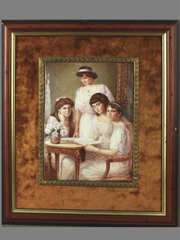 «Дочери Императора Николая II», финифть, латунь, бронза, худ. Д.Гуськов, 1996г, 20,5×16см