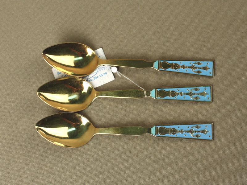 Ложки кофейные (3шт.), серебро 875пробы, позолота, эмаль, общий вес— 44,9г