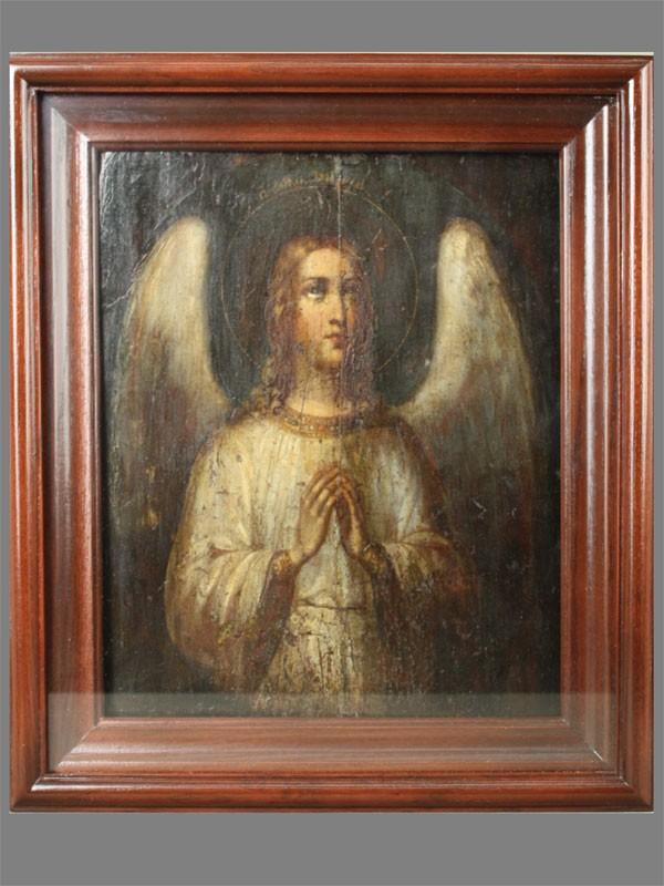 Икона «Святой Ангел Хранитель», дерево, масло, XIXв., 31×25см; киот