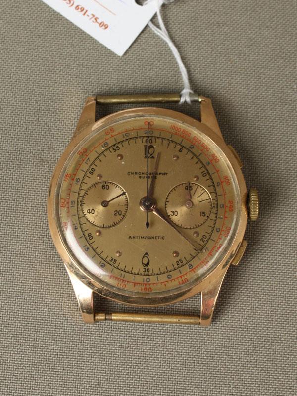 Часы-хронограф мужские наручные, золото 750пробы, общий вес— 37,8г