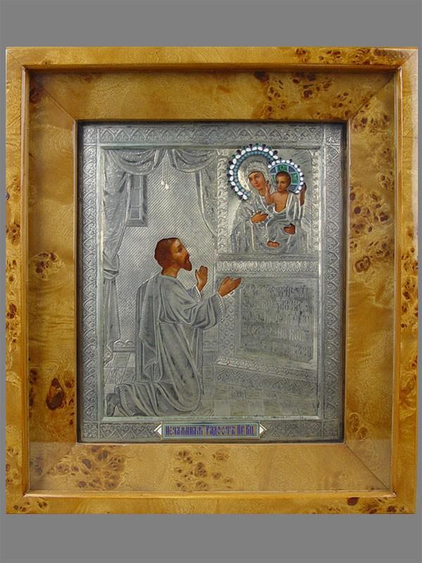 Икона вкиоте «Пресвятая Богородица Нечаянная Радость», оклад: серебро 84пробы, эмаль, конец XIXвека, размер иконы: 27×22см