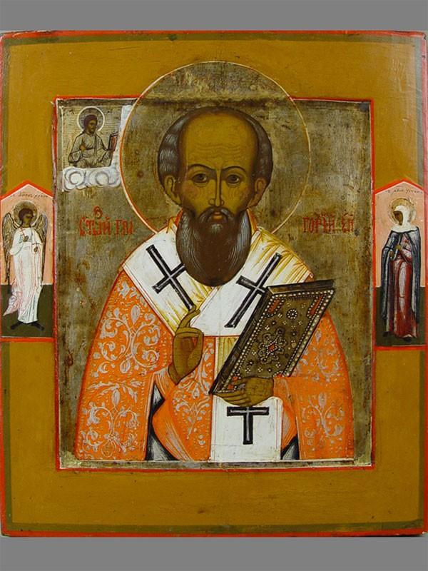 Икона «Святой Григорий Чудотворец, епископ Неокесарийский», дерево, левкас, темпера, 31,5×27см