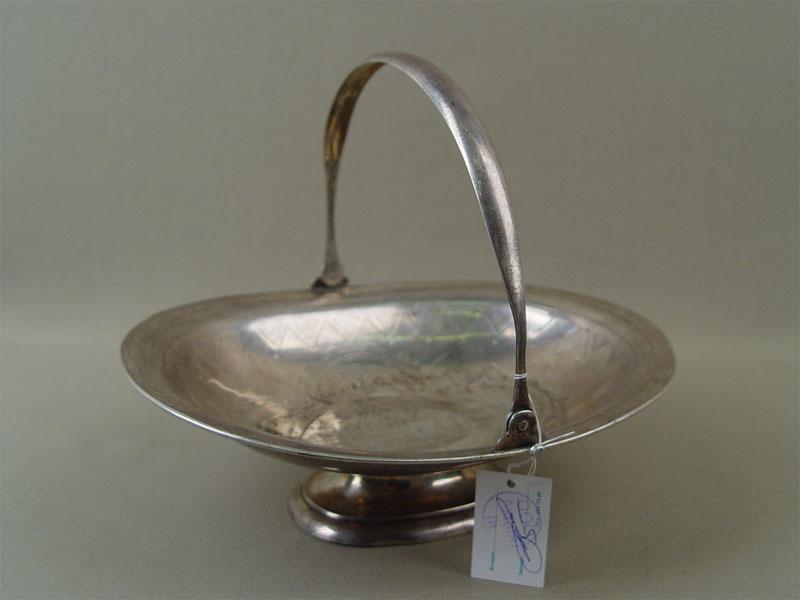 Сухарница, серебро 84пробы, гравировка, общий вес— 294г, 21,5×17см