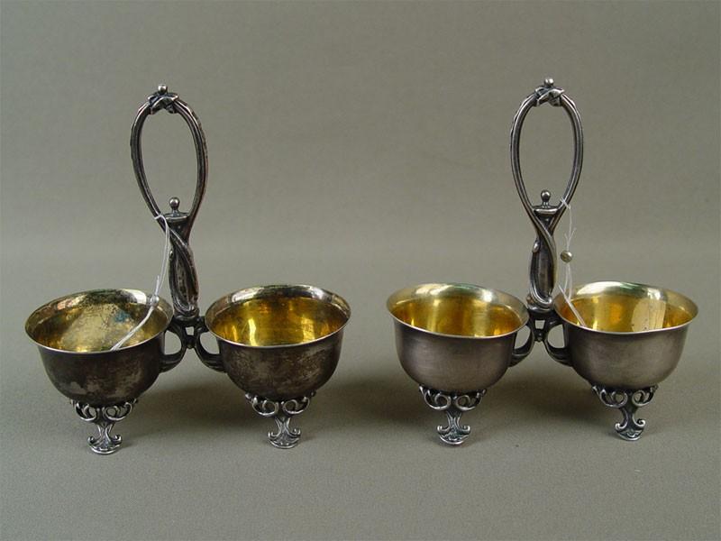 Пара двойных солонок, серебро 84пробы, позолота, общий вес— 232г, высота— 13см