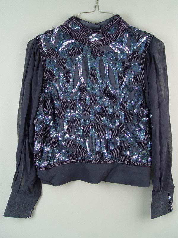 Блузка, шелк, бисер, пайетки, размер XL, конец XXвека