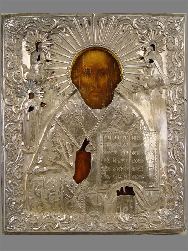 Икона «Святой Николай Чудотворец», дерево, масло, темпера, 32×27,5см; оклад— серебро 84пробы