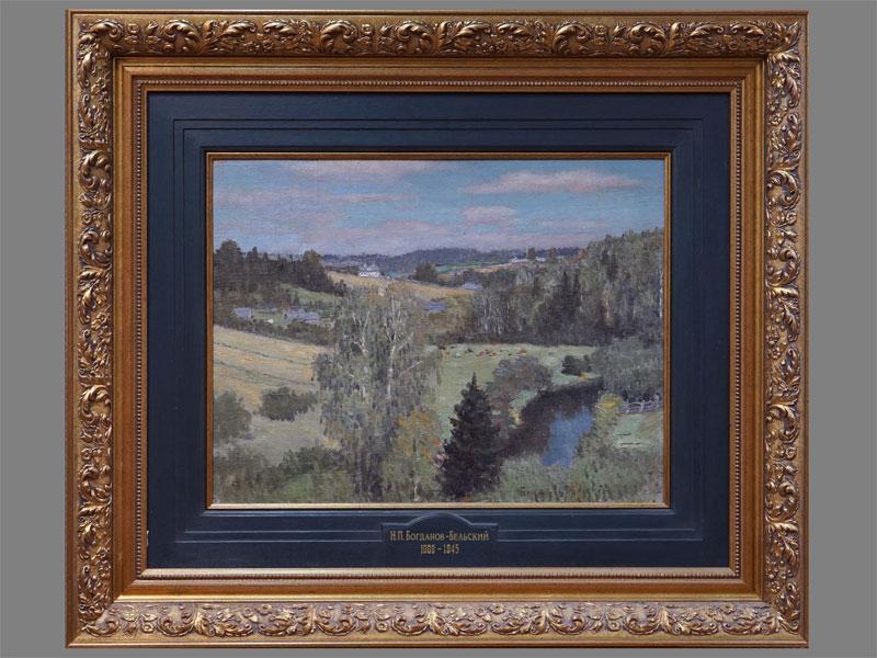 Картина в раме. Н.П. Богданов-Бельский (1868-1945), «Летний пейзаж», холст на картоне, масло, 38,6 × 50,7см