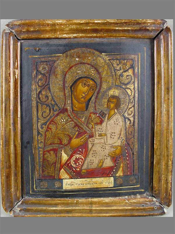 «Пресвятая Богородица Тихвинская», дерево, левкас, темпера, 31×25,5см; рама