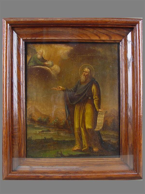 Икона «Святой Пророк Илия», дерево, масло, XIXвек, 27×22см; киот
