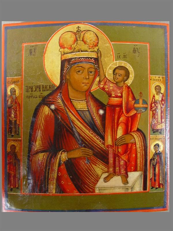«Пресвятая Богородица Призри НаСмирение», дерево, левкас, темпера, 17,5×15,5см, XIXв.