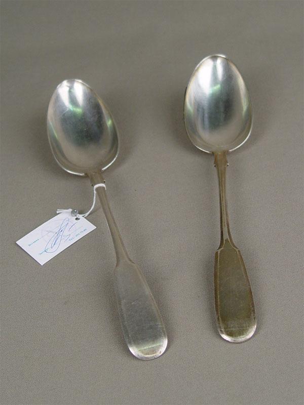 Ложки столовые, 2шт., серебро 84пробы, общий вес— 144,4г