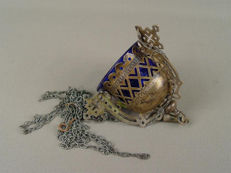 Лампада подвесная, сцепями, металл, серебрение, стекло, конец XIX— начало XXвека