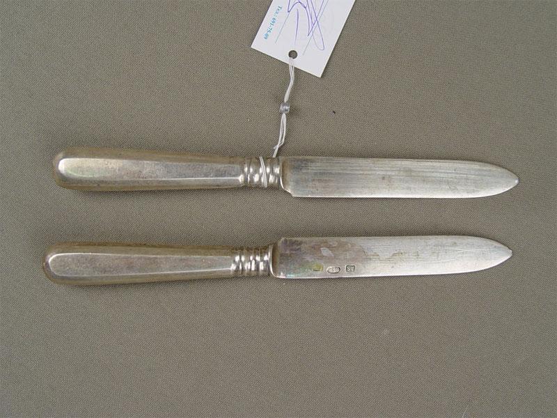 Ножи десертные (2шт.), серебро 84пробы, общий вес— 60г