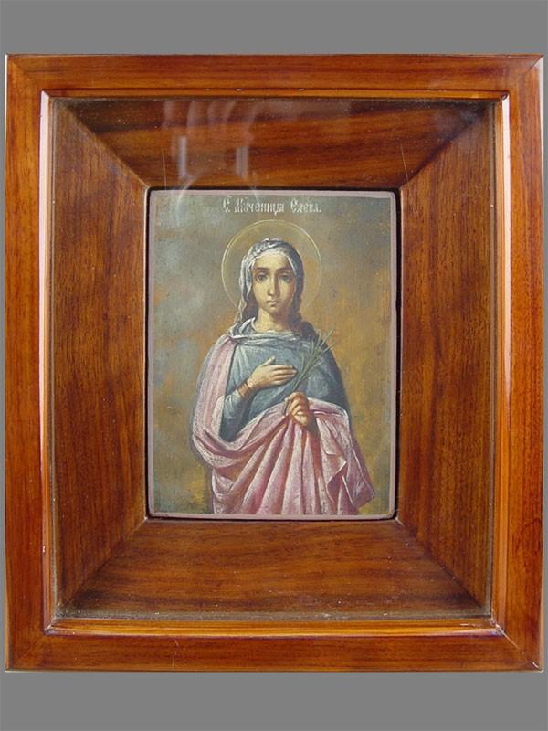 «Святая мученица Елена (дочь апостола Иакова Алфеева)», дерево, масло, размер:14×11см; киот