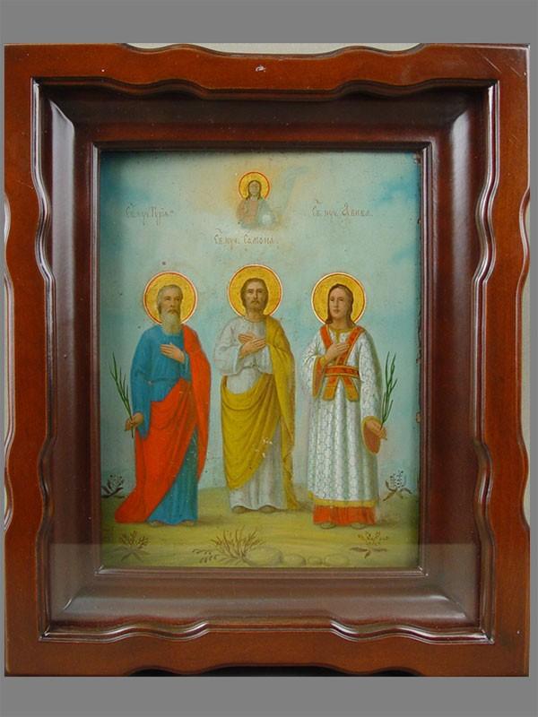 Икона вкиоте «Семейное Благополучие. Святые Самон, Гурий иАвив», дерево, масло, размер иконы: 22×18см