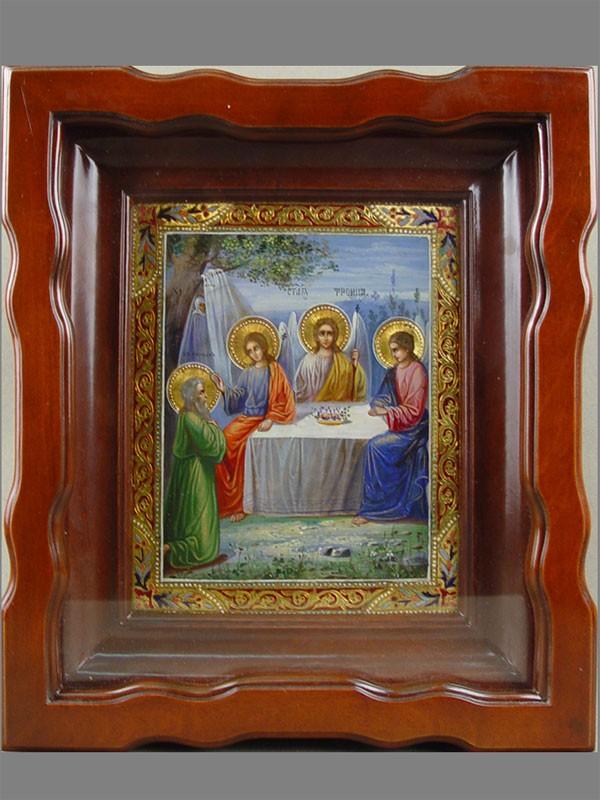 Икона «Святая Троица», дерево, левкас, темпера, позолота, 18 х 13см; киот