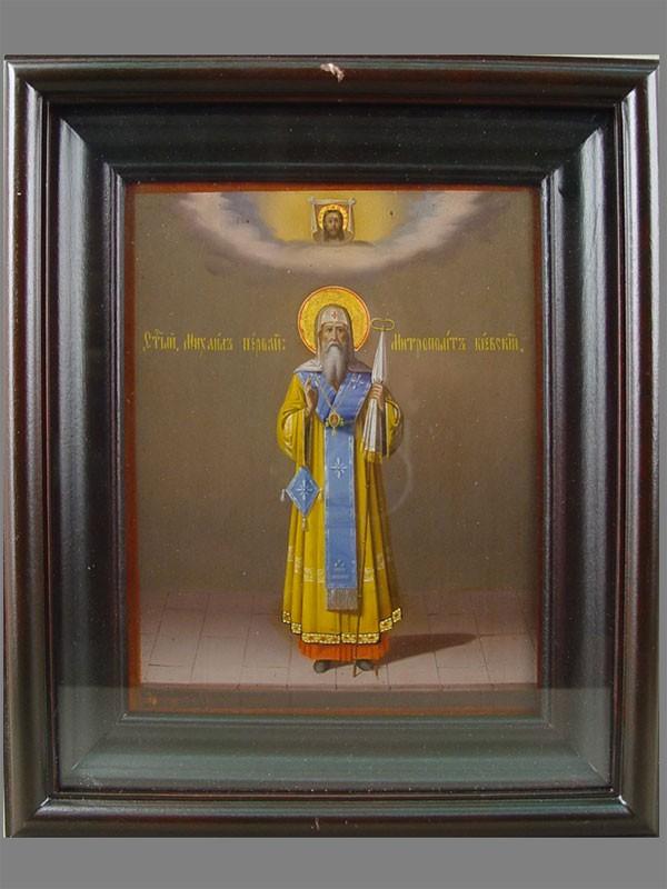 Икона вкиоте «Святой Михаил, Митрополит Киевский», дерево, масло, 22×18см