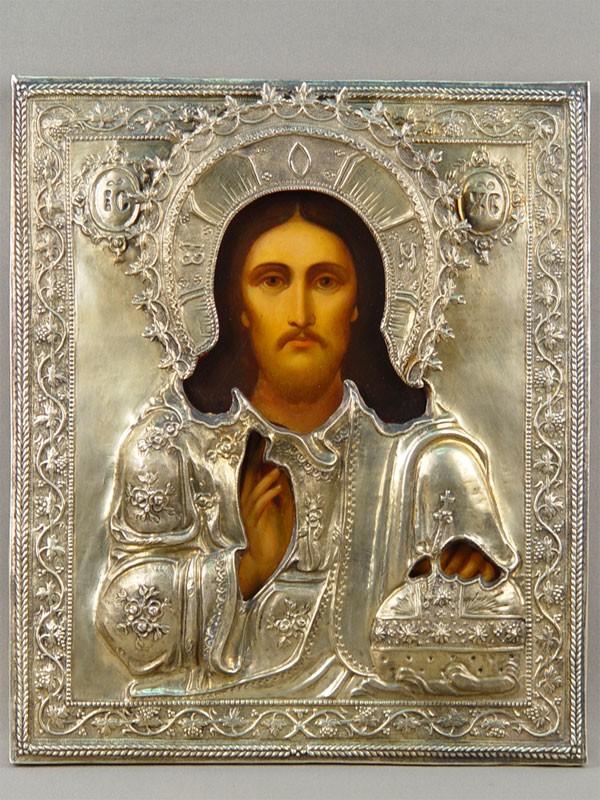 Икона вкиоте «Господь Вседержитель», дерево, левкас, темпера; оклад: серебро 84пробы, 1889год, позолота, размер: 31×26см