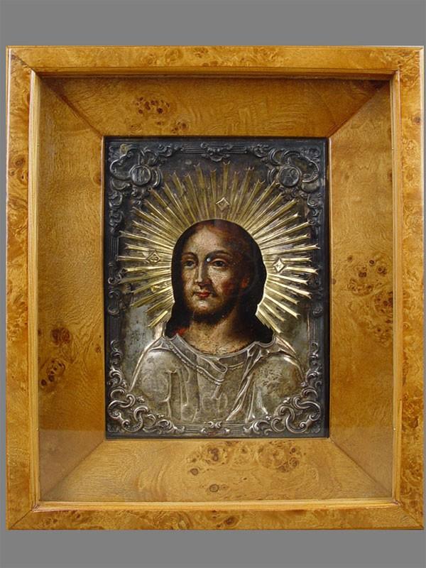 Икона вкиоте «Спас Оплечный», дерево, масло; оклад— серебро 84пробы. XIXвек, размер иконы: 19×13,5см