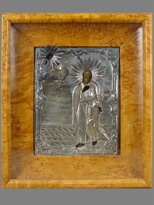 Икона вкиоте «Святой Апостол Иаков Алфеев», оклад латунь, XIXв., 22×17,5см