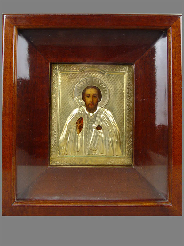 Икона «Святой Преподобный Иосиф», оклад— серебро 84пробы, позолота, 13×11см; киот