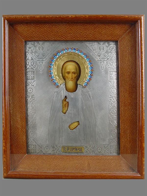 Икона вкиоте «Святой преподобный Сергий Радонежский», дерево, масло; оклад— серебро 84пробы, позолота, эмаль, размер иконы: 26×22см