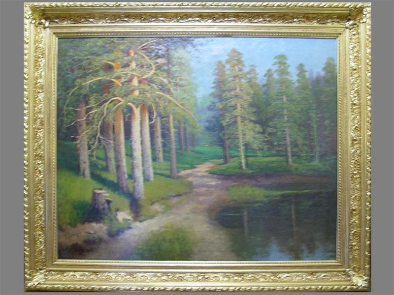 В.В.Бабадин, «Сосновый лес», холст, масло, конецXIX— начало XXвека, размер: 107×133см. Атрибуция.