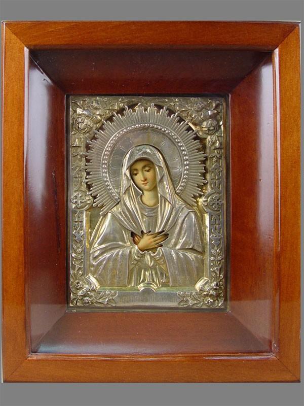 «Пресвятая Богородица Умиление», дерево, масло, оклад— серебро 84пробы, 18×13,5см; оклад