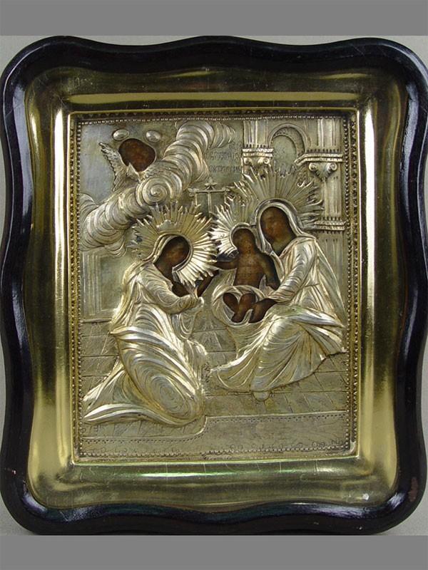 Икона вкиоте «Обручение Святой Екатерины»; оклад— серебро 84пробы, конец XVIIIвека, размер иконы: 23×18,5см