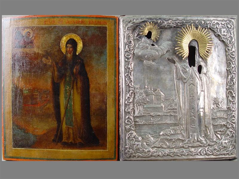 Икона «Святой Макарий Калязинский», дерево, масло, оклад латунь, 31×27см