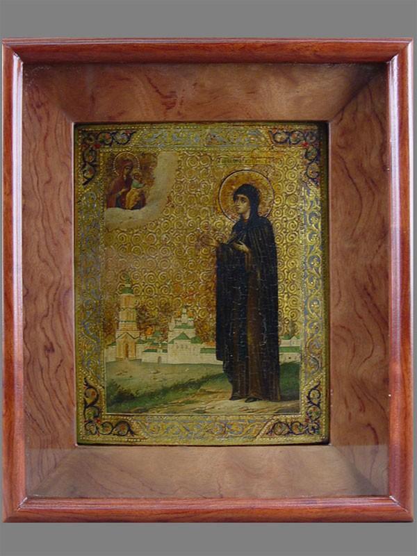 «Святая Ефросинья Полоцкая», дерево, левкас, темпера, XIXв., 22×17,5см; киот