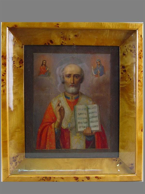 «Святой Николай Чудотворец», дерево, левкас, темпера, XIXв., 31×26см; киот