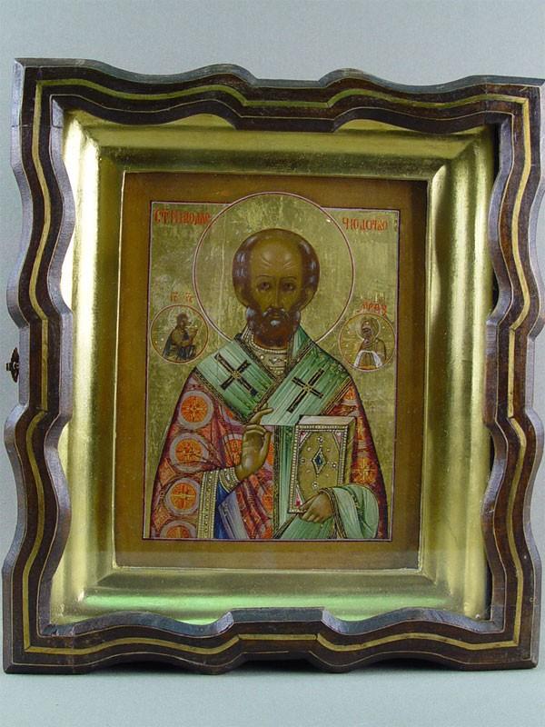 Икона «Святой Николай Чудотворец», дерево, левкас, темпера, 21×17см; киот