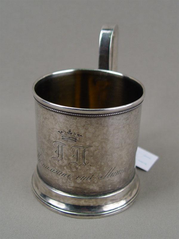 Подстаканник, серебро 84пробы, гравировка, позолота, общий вес— 112,4г