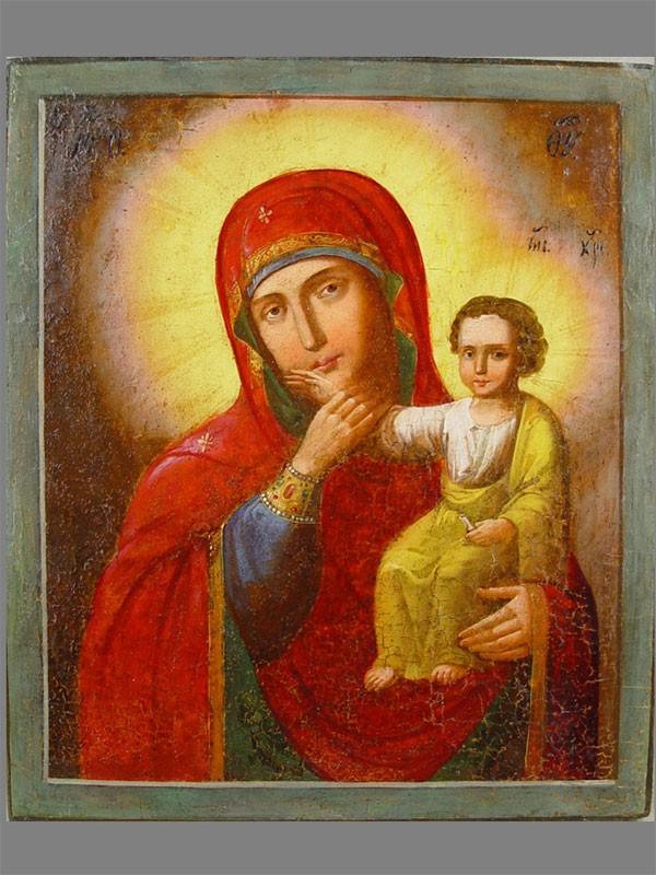 «Пресвятая Богородица Отрада иУтешение», дерево, левкас, темпера, XIXв., 35×29см