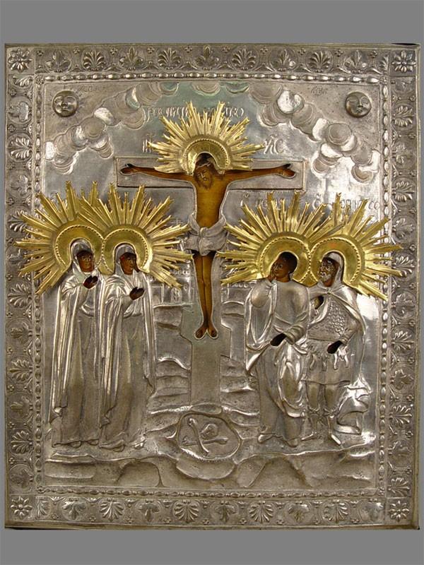 Икона «Распятие спредстоящими», дерево, левкас, темпера, оклад латунь, XIXв., 33×28см