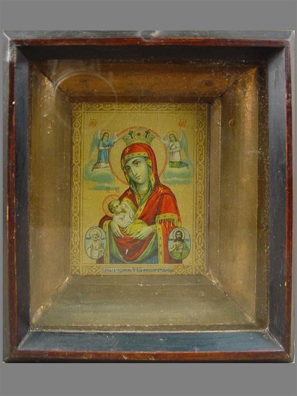 «Пресвятая Богородица Млекопитательница», бумага, литография, 10×8см; киот