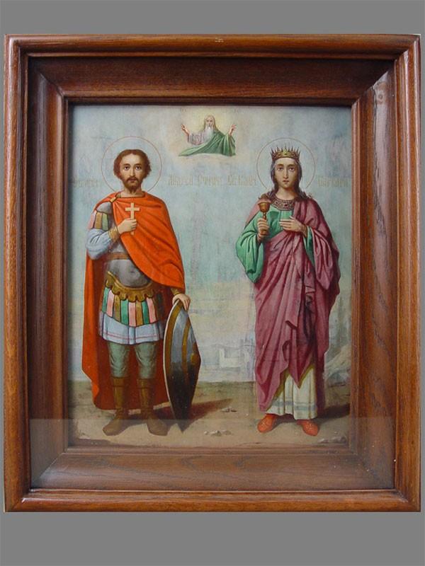 Икона «Святой Андрей Стратилат, Святая Великомученица Варвара», дерево, масло, XIXв., 27×22см
