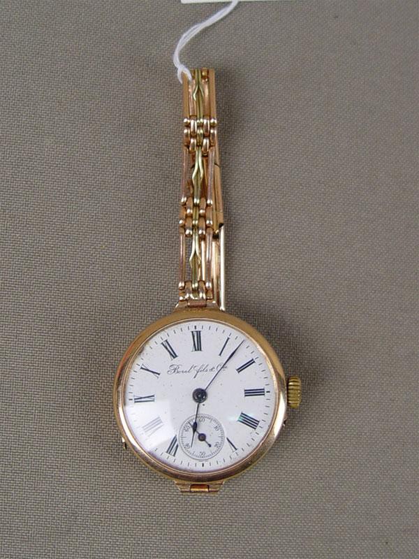 Часы наручные сбраслетом, золото 56пробы, общий вес— 32г